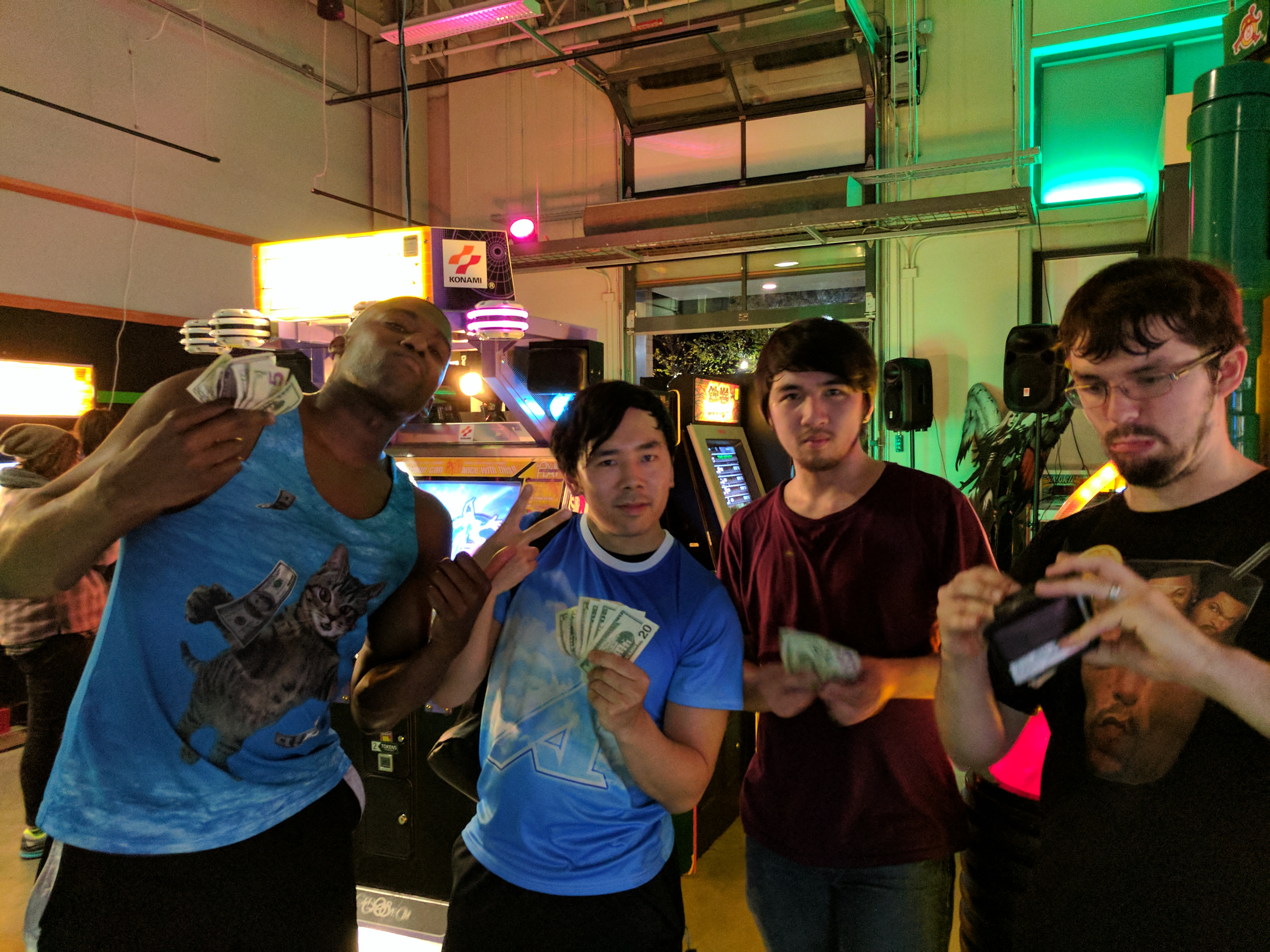 DDR(2014) Top 4 winners left to right: Nick Payne (3rd), David Lee (1st), Loc (2nd), Nick St. Pierre (4th)